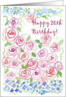 Happy 20th Birthday Pink Roses card