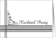 Cocktail Party Invitation Elegant Gray Stripe card