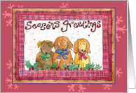 Season's Greetings Christmas Holiday Party Invitation Dogs card