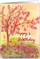 Autumn Tree Happy Birthday Falling Leaves card