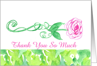 Thank You Wedding Attendants Pink Rose Green Leaves Watercolor card