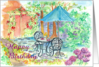 Friend Happy Birthday Courtyard Garden Cafe card