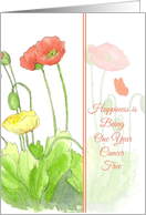 One Year Cancer Free Congratulations Orange Poppy Flower Watercolor card
