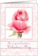 Happy Valentine's Day Aunt Pink Rose Watercolor Painting card