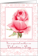 Happy Valentine's Day Mother Pink Rose Watercolor Flower Art card
