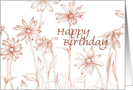Birthday Vintage Sepia Daisy Garden Drawing card