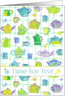 Tea Party Invitation It's Tea Time Whimsical Teapot Drawing card
