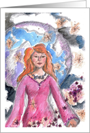 New Age Birthday Lady Moon Stars Sky Watercolor Mystical Art card