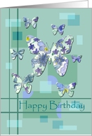 Happy Birthday Blue Green Floral Butterfly card