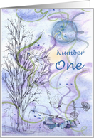 Numerology Birthday Number One Tree Leaves card