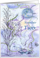 Numerology Birthday Number Two Tree Leaves card