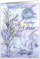 Numerology Birthday Number Four Tree Leaves card