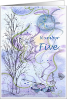 Numerology Birthday Number Five Tree Leaves card