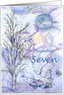 Numerology Birthday Number Seven Tree Leaves card