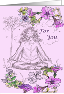 Happy Birthday Yoga Meditation Purple Petunia card