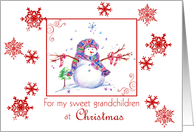 Grandchildren Christmas Snowman Snowflakes card