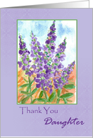 Thank You Daughter Purple Lupines Watercolor card