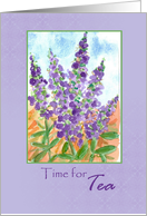 Time for Tea Purple Lupines Watercolor card