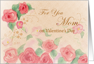 Mom Valentine's Day Pink Rose Watercolor Art card