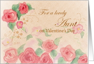 Aunt Valentine's Day Pink Rose Watercolor Art card