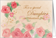 Daughter Valentine's Day Pink Rose Watercolor Art card
