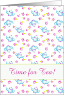 Tea Party Invitation Blue Teapot Pink Rose Flower Drawing card