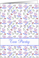 Tea Party Invitation Floral Teacup Stack Watercolor Flowers card