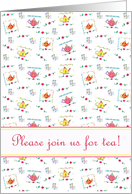 Tea Party Invitation Colorful Whimsical Teapots Watercolor Flowers card