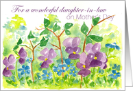 Happy Mother's Day daugther-in-law Watercolor Violets card