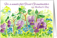 Happy Mother's Day Great Grandmother Watercolor Violets card