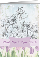 Good Bye Good Luck Lavender Tulip Iris Nasturtium Flower Collage card