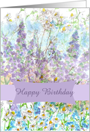 Happy Birthday Wildflower Fairy Collage Chamomile Lupines card