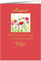 Happy August Birthday Wife Red Poppy Flower Watercolor card