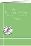 Happy April Birthday Friend White Daisy Flower Drawing card