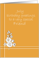 July Happy Birthday Friend, Larkspur Flower Drawing card