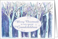Merry Christmas Grandchildren Blue Winter Trees Landscape Painting card