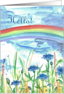 Hello Colorful Garden Rainbow Watercolor Art Painting card