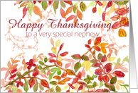 Happy Thanksgiving Nephew Autumn Leaves Watercolor Painting card