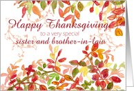 Happy Thanksgiving Sister and Brother-in-Law Autumn Leaves Watercolor card
