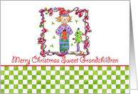 Merry Christmas Grandchildren Holiday Elf Candy Cane Illustration card