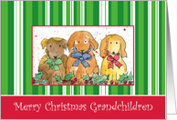 Merry Christmas Grandchildren Dogs Art Watercolor Illustration card