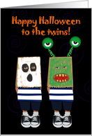 Happy Halloween To The Twins! Paper Bags Halloween Masks, Funny card