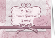 5-Year Cancer Survivor Party, Mauve Ribbon, Bow and Flourishes card