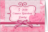 5-Year Cancer Survivor Party Invitation, Bright Pink Ribbon, Heart card