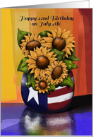 Happy 22nd Birthday On July 4th, Sunflowers, Americana Reflection card