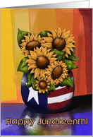 Happy Juneteenth! Freedom Day Sunflowers In Vase, Americana Reflection card