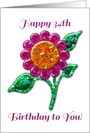 Happy 34th Birthday! Glossy Glitter Look Pink Flower, Floral Art card