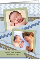 Baby Announcement, Blue Chevron, Ric Rac and Ribbons, Photo Card