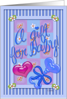 A Gift For Baby! Blue Rattle, Pink Heart, Blue for Boy, Baby Shower card