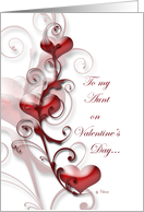 To My Aunt on Valentine's Day Hearts & Swirls on White card